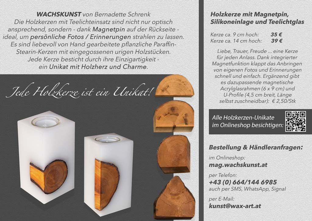 Holzkerzen WACHSKUNST mit Magnetpin von Bernadette Schrenk